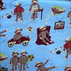 Nick & Nora Sock Monkey cotton flannel sheet set